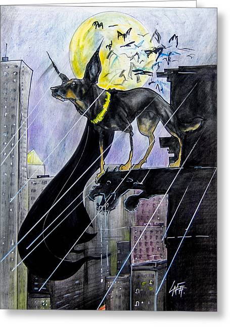 Bat-dog Caricature  Greeting Card