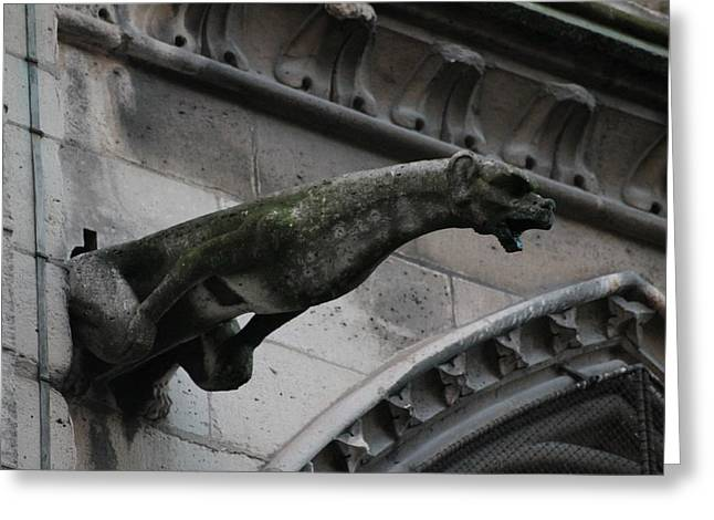 Greeting Card featuring the photograph Bat Eared Dog Gargoyle Of Notre Dame by Christopher Kirby