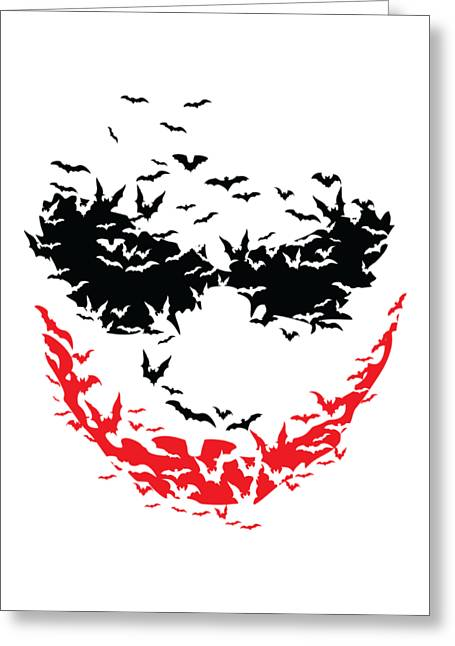 Greeting Card featuring the digital art Bat Face by Christopher Meade