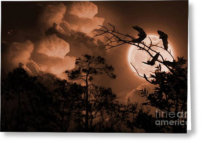 Bat In The Dark-a Greeting Card by Gull G
