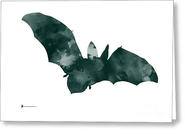 Bat Minimalist Watercolor Painting For Sale Greeting Card by Joanna Szmerdt