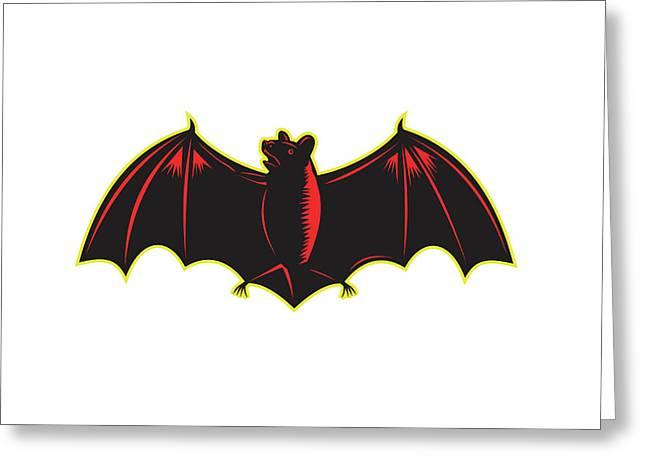 Bat Spread Wing Woodcut Greeting Card