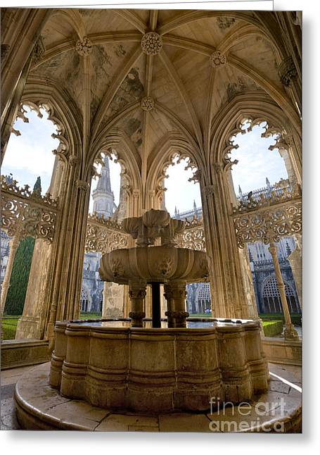 Batalha Fountain 1 Greeting Card by Mikehoward Photography