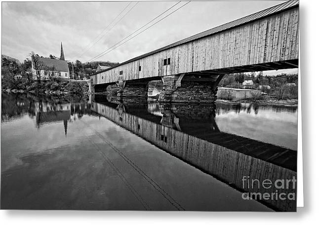 Bath Covered Bridge New Hampshire Black And White Greeting Card by Edward Fielding
