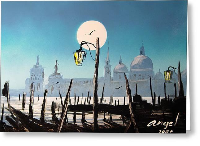 Bath Of Light Venice  Greeting Card by Angel Ortiz