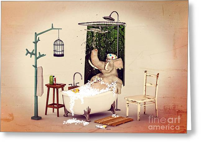 Greeting Card featuring the digital art Bath Time by Methune Hively