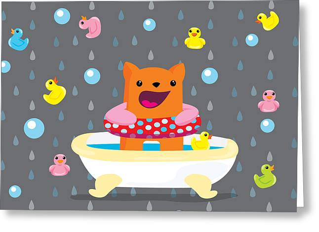 Bath Time  Greeting Card by Seedys