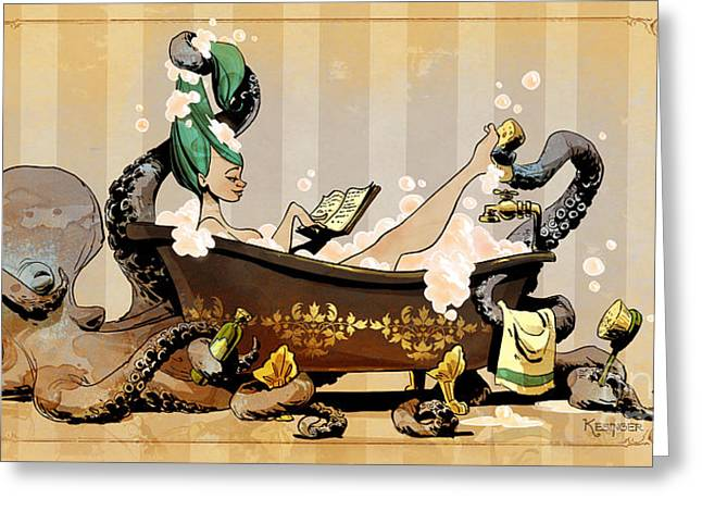 Octopus Greeting Cards - Bath Time With Otto Greeting Card by Brian Kesinger