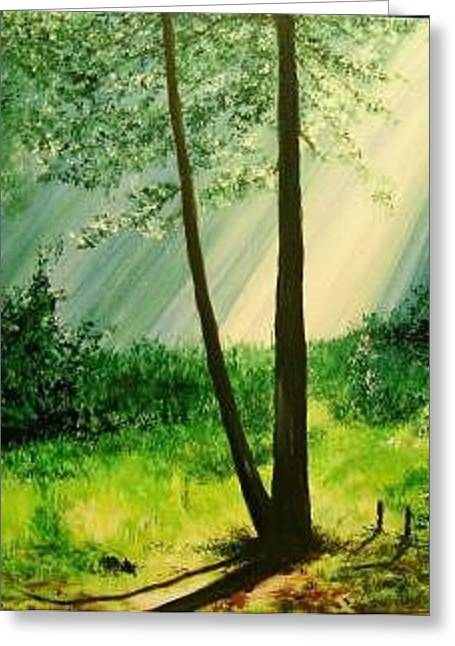 Bathed In Light Greeting Card by Lizzy Forrester