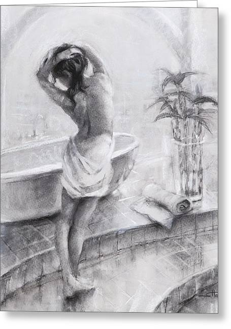 Greeting Card featuring the painting Bathed In Light by Steve Henderson