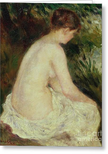 Recently Sold -  - Female Body Greeting Cards - Bather Greeting Card by Pierre Auguste Renoir