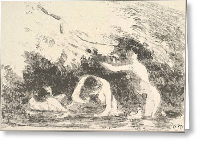 Bathers In The Shade Of Wooded Banks Greeting Card by Camille Pissarro