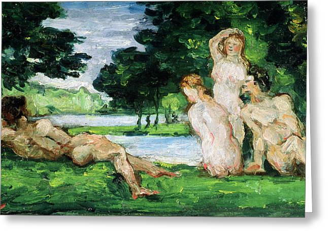 Bathers Male And Female Greeting Card
