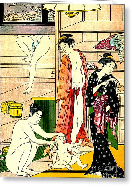 Bathhouse Women II 1780 Greeting Card by Padre Art