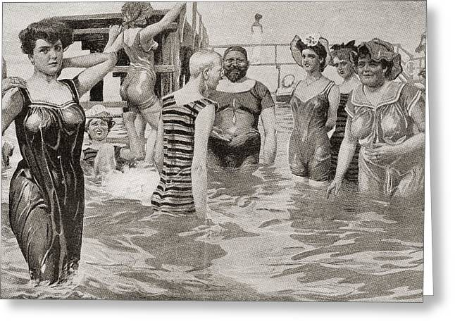 Bathing Acquaintances In The 19th Greeting Card by Vintage Design Pics