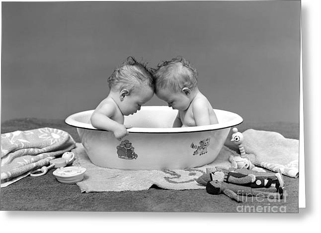 Bathing Babies, 1930s Greeting Card by H. Armstrong Roberts/ClassicStock