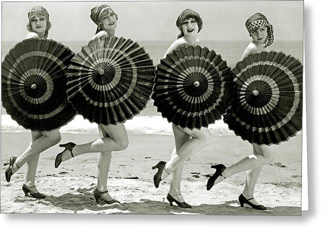 Bathing Beauties With Parasols Greeting Card by American School