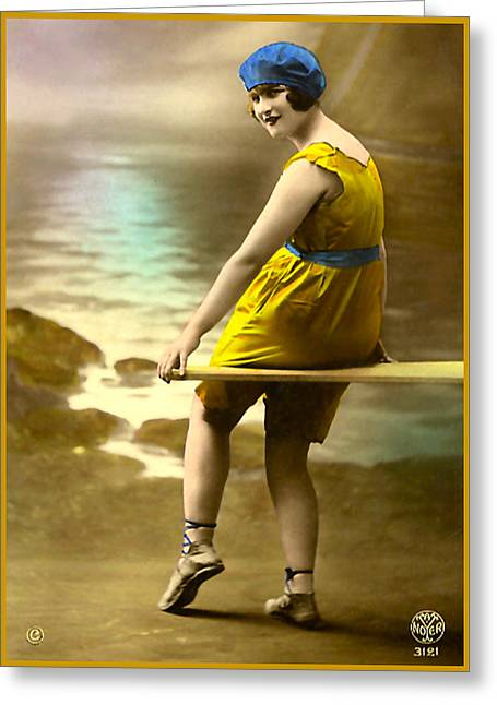 Bathing Beauty In Yellow  Bathing Suit Greeting Card