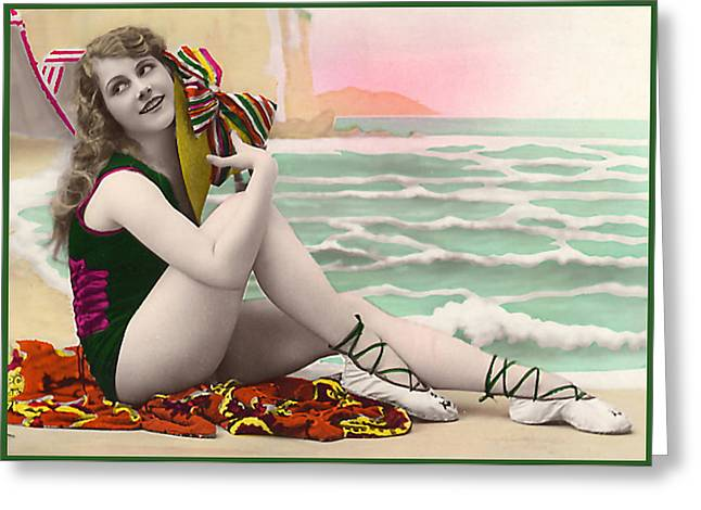 Bathing Beauty On The Shore Bathing Suit Greeting Card