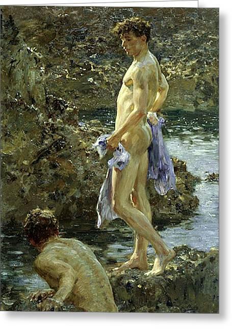 Bathing Group Of 1914 Painting By Henry Scott Tuke