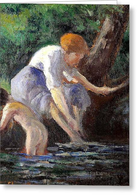 Bathing Greeting Card by Maximilien Luce