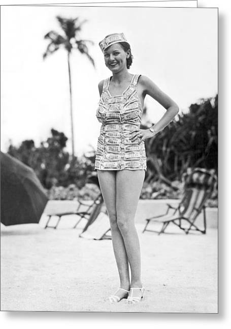 Bathing Suit Made Of Currency Greeting Card by Underwood Archives