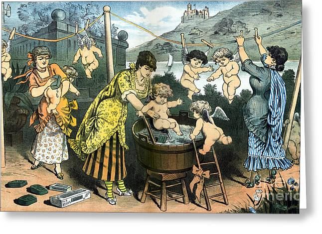 Bathing Their Little Angels, 1883 Greeting Card