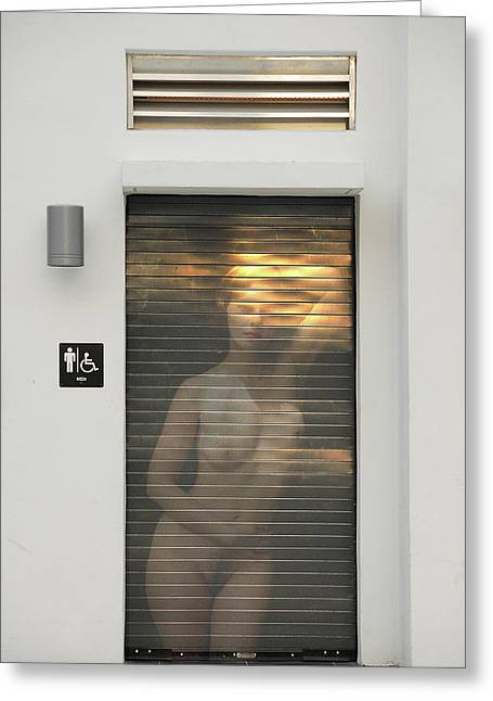 Bathroom Door Nude Greeting Card