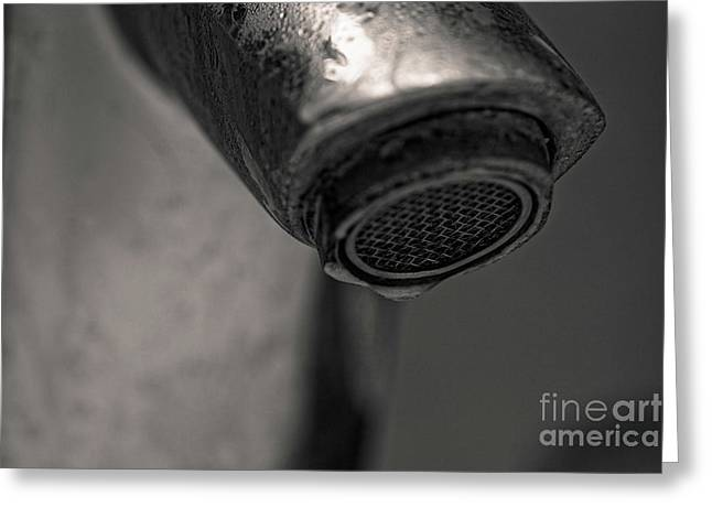 Bathroom Humidity - Dripping Tap Close-up Greeting Card