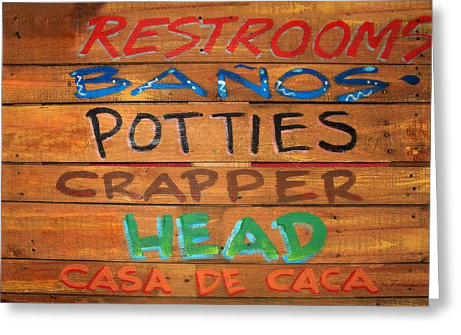 Bathroom Sign Greeting Card by James Eddy