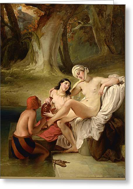 Bathsheba At Her Bath Greeting Card by Francesco Hayez