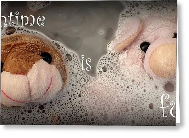 Bathtime Is Fun Greeting Card by Piggy