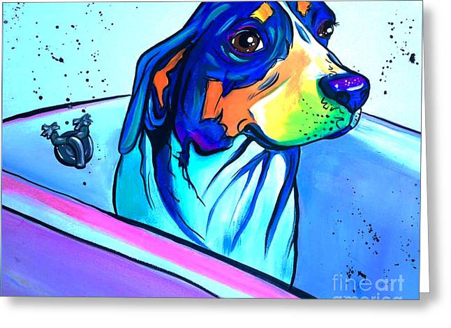 Bathtub Beagle Greeting Card