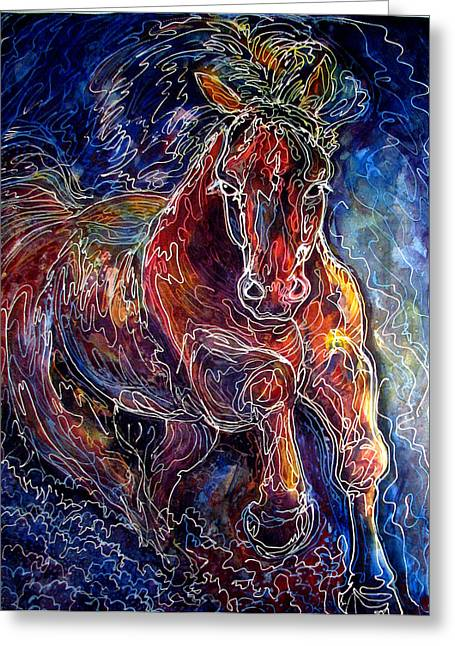 Batik Equine Abstract  Powerful By M Baldwin Greeting Card by Marcia Baldwin