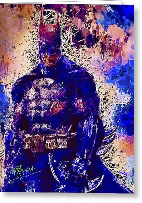 Greeting Card featuring the mixed media Batman by Al Matra