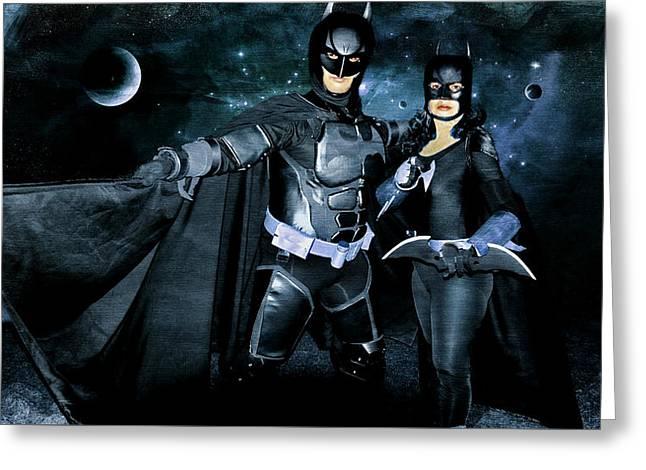 Batman And Batgirl Greeting Card
