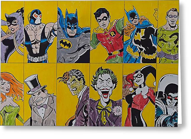 Batman And The Gang Greeting Card by James Holko