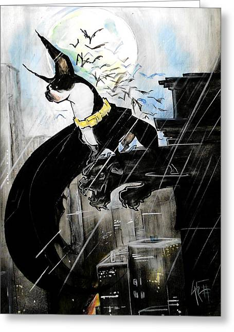 Batman Boston Terrier Caricature Art Print Greeting Card