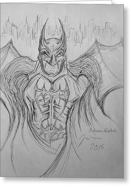 Batman Dark Knight Sketch Greeting Card by Jaime Paberzis