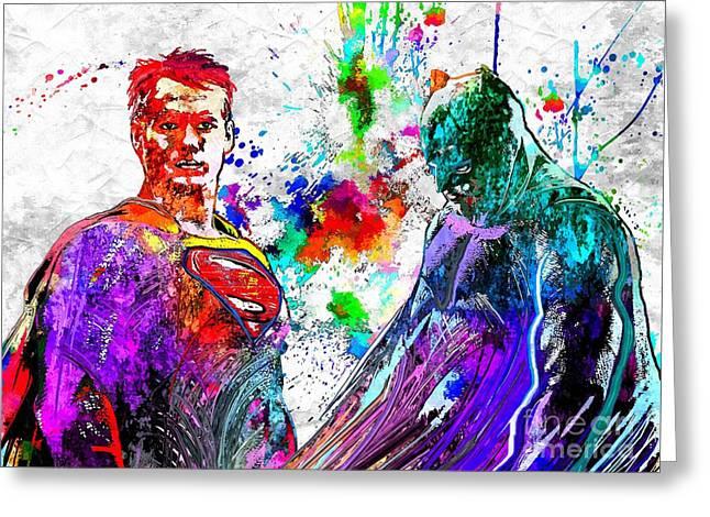 Batman V Superman Grunge Greeting Card