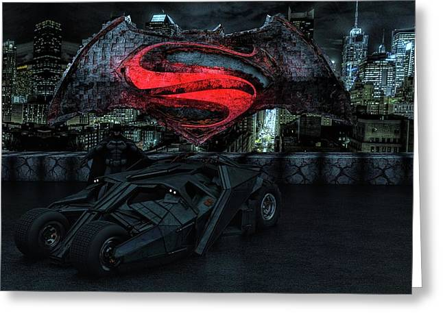 Greeting Card featuring the photograph Batman Versus Superman by Louis Ferreira
