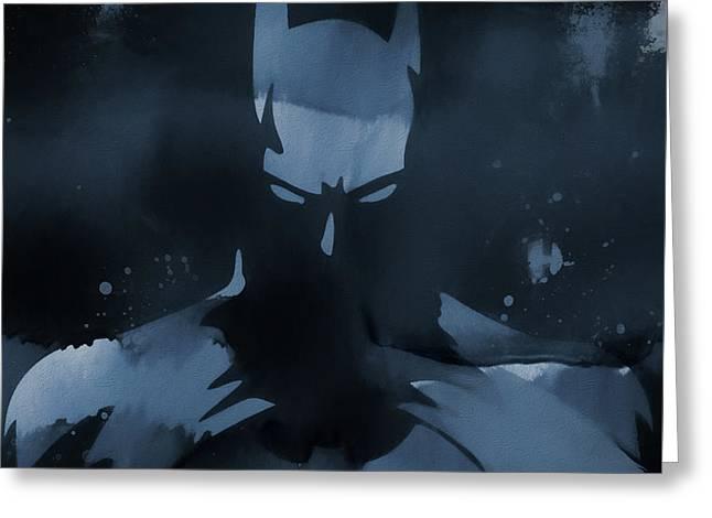Batman Watercolor Splatter Greeting Card