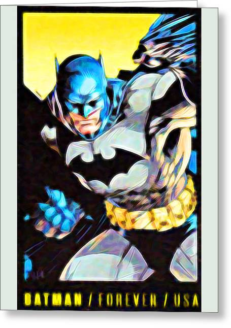 Batman's 75th Anniversary Stamps 3 Greeting Card by Lanjee Chee