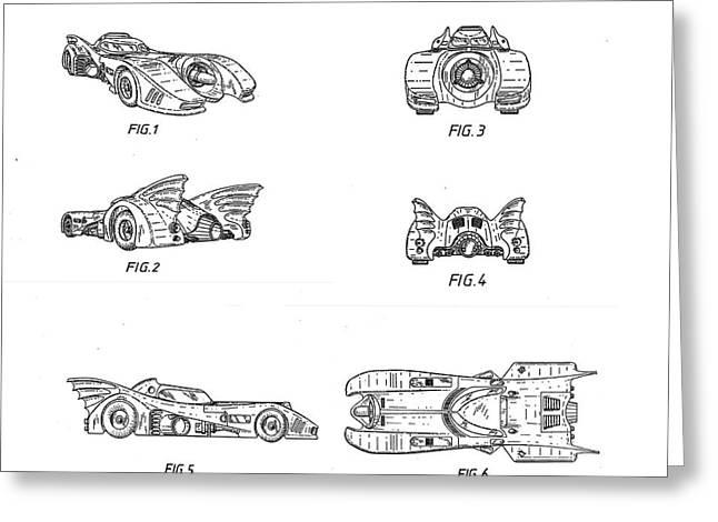 Batmobile 1990 Patent Greeting Card