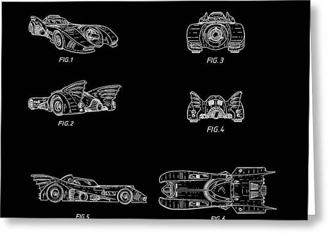 Batmobile 1990 Patent In Black Greeting Card