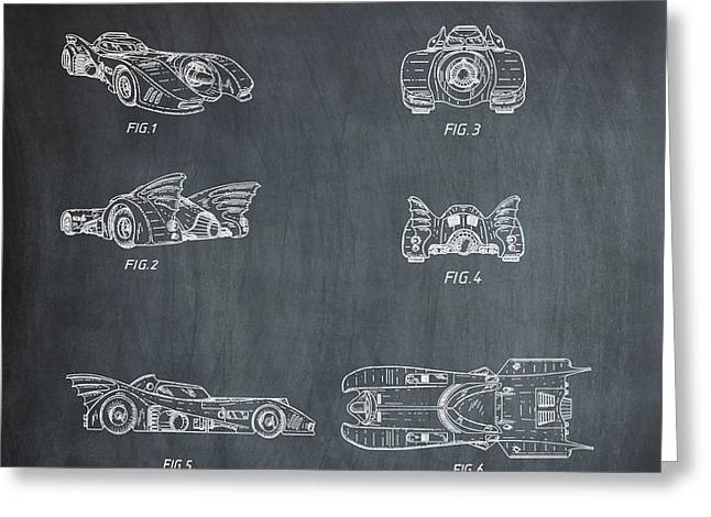 Batmobile 1990 Patent In Chalk Greeting Card