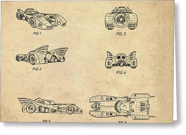 Batmobile 1990 Patent In Sepia Greeting Card