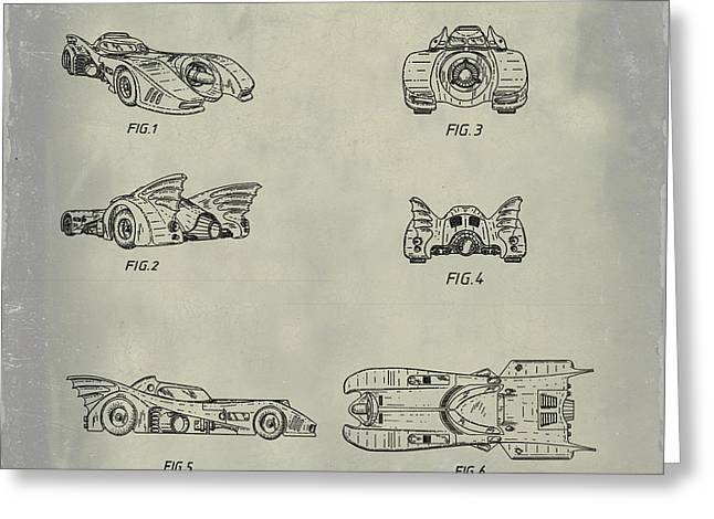 Batmobile 1990 Patent In Weathered Greeting Card
