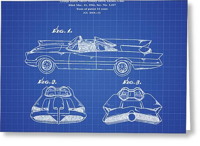 Batmobile Patent 1966 Blueprint Greeting Card