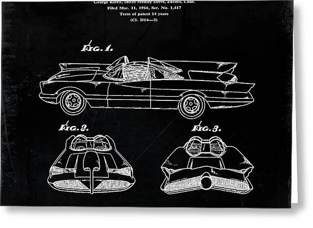 Batmobile Patent 1966 In Black Greeting Card